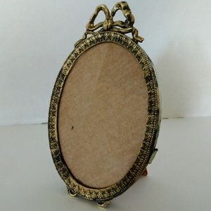 Vintage Brass Picture Frame Oval Ornate with Bow